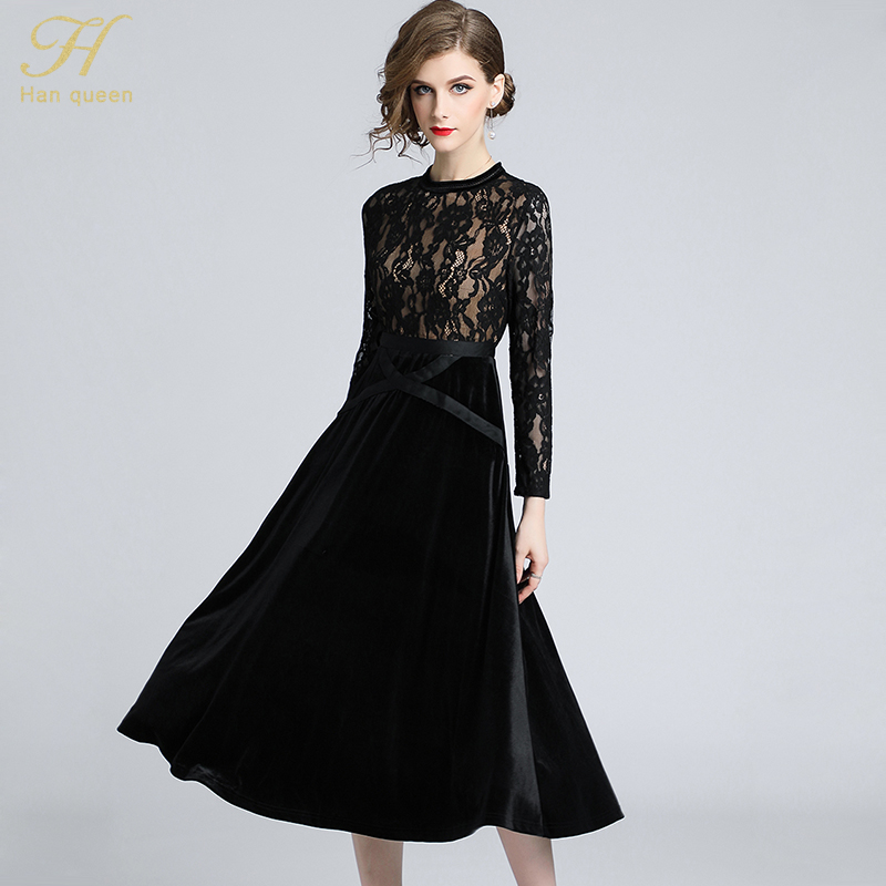 29958edeb7ab0 ... H Han Queen Women New 2018 Autumn Black Lace Dress High-End Ladies O-  ...