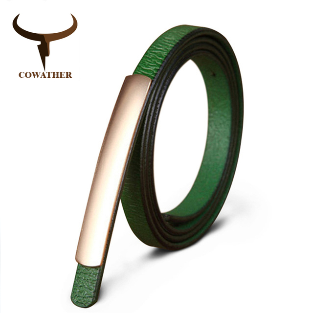 Cowather изысканный стиль моды женские ремни Корова Натуральная кожа высокого качества качество сплава пряжки новый дизайн Бесплатная доставка