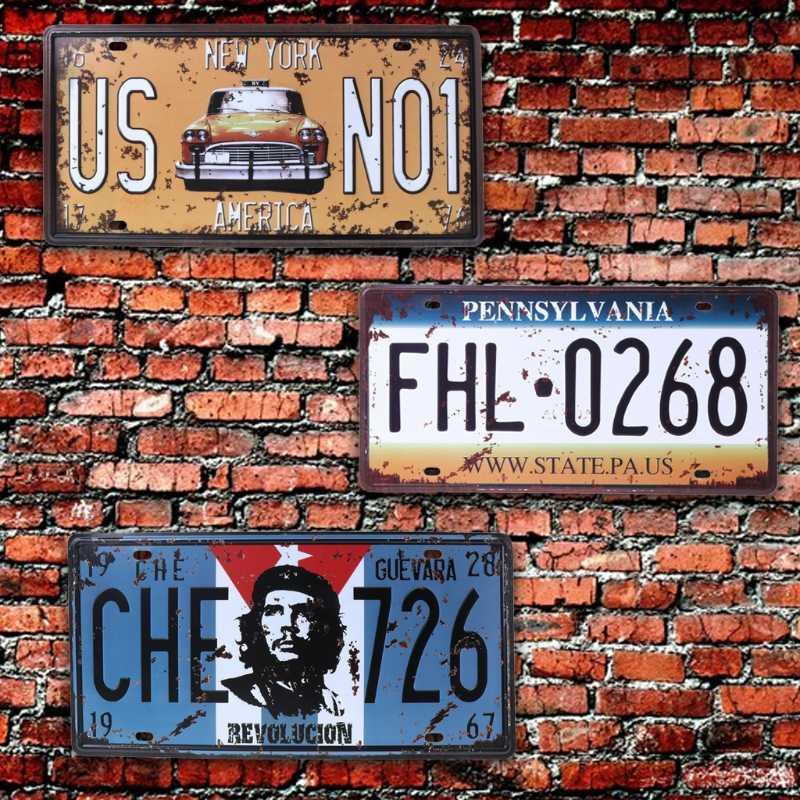 QILEJVS USA خمر معدن القصدير علامات رقم السيارة لوحة ترخيص اللوحة المشارك بار نادي جدار المرآب ديكور المنزل 16*30 سنتيمتر