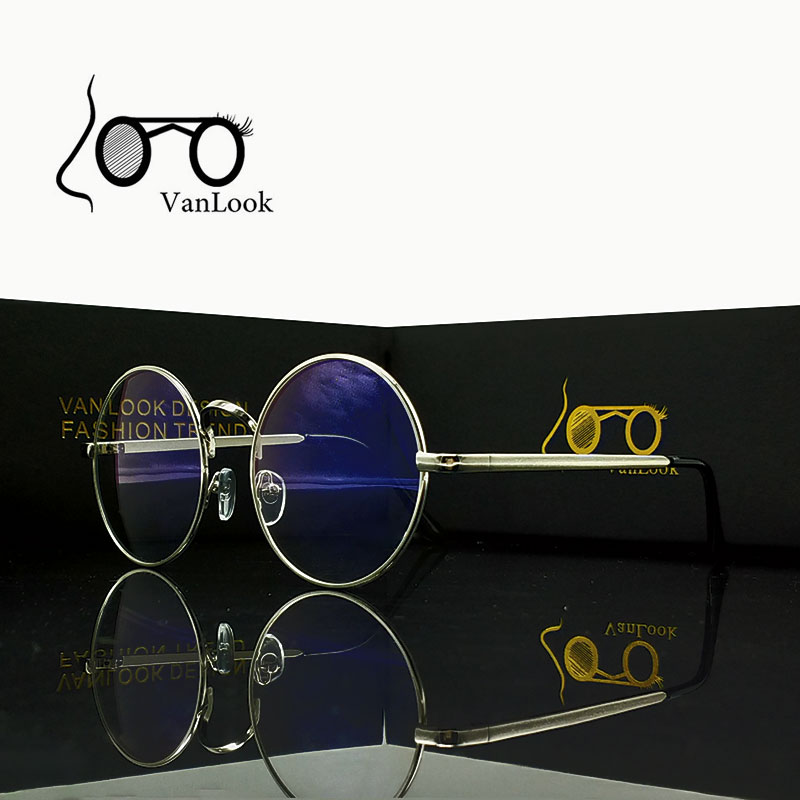 Rund metallglass for Computer Anti Blue Ray Frame Women Menn Eyeglasses Transparent Spectacles Oculos De Grau