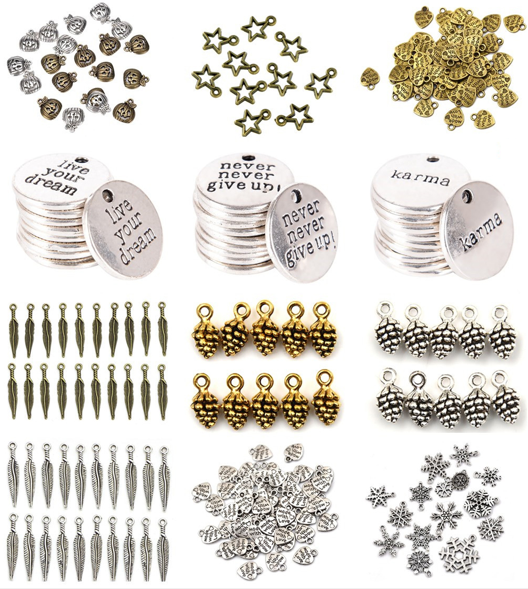 Brand New 50Pcs Silver//Gold Plated MADE WITH LOVE Heart Charms  Pendants Beads