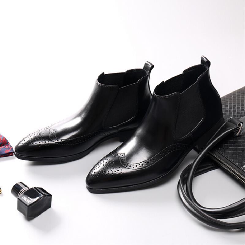 Cómodas Tobillo Boda Scarpe Diseñador Hombres Genuino Marca Los Mycolen Bullock Tallado Botas Italiano Zapatos Cuero Negocios Negro La De q1npX0