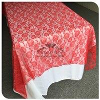 Красная кружевная прямоугольная скатерть для свадебного банкета отельный Настольный чехол вечерние принадлежности домашний текстиль - Цвет: Red