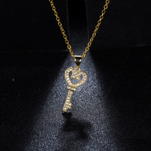 2017 Fashion Hot Sale Copper Cute Golden Chain Necklace Crystal Zircon Lovely Key Pendants Necklace Jewelry For Women bijoux