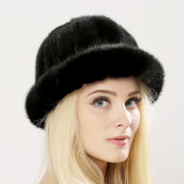 Sombreros de Invierno 2016 Hizo Punto la Gorrita Tejida de las mujeres Con piel de visón Bola mujeres Personalizada Sombrerería Sombrero Para Las Mujeres Ocasionales de Piel De Visón Hembra sombreros