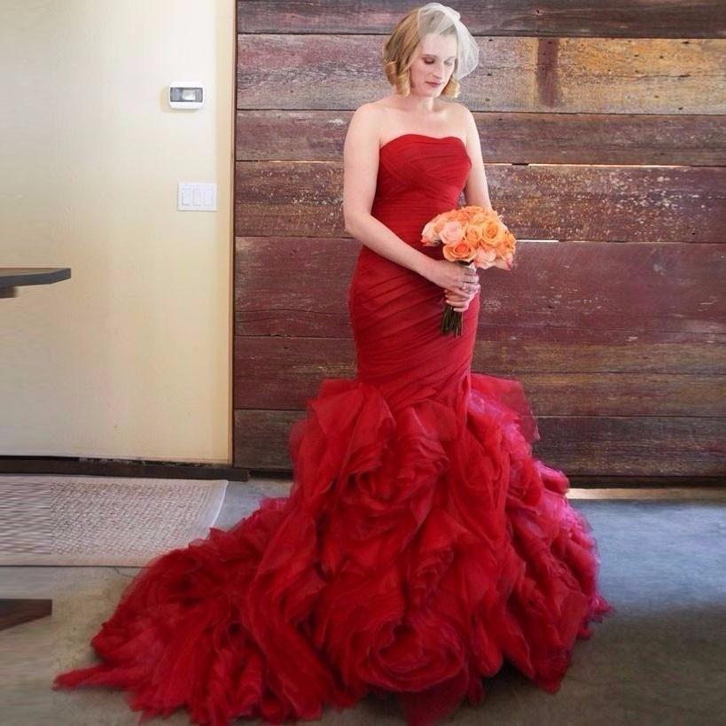 Www Wedding Gowns: Red Mermaid Wedding Dresses Burgundy Rose Flowers Corset