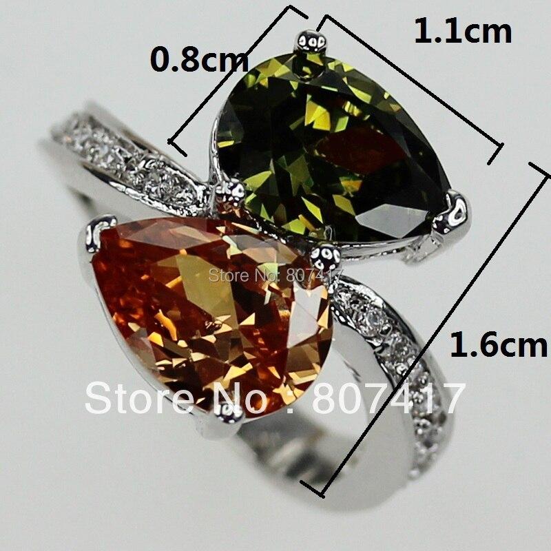 SHUNXUNZE свадебные кольца ювелирные изделия и аксессуары для мужчин и женщин милый Перидот морганит, фианит с родиевым покрытием R413 Размер 8