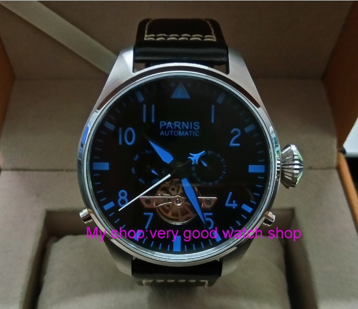 47mm big dial PARNIS Asian st25 Automatic mechanical movement men watches Auto Date & Auto week Mechanical Wristwatches 125a
