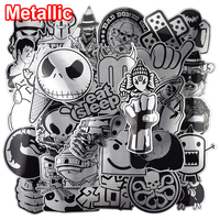 Heißer Verkauf 50 Pcs Metallic Schwarz und Weiß Aufkleber Graffiti Aufkleber für Laptop Gepäck Auto Styling Wand Gitarre Coole Aufkleber