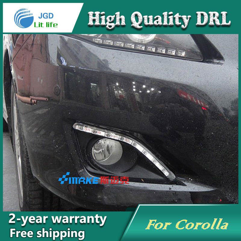 Free shipping ! 12V 6000k LED DRL Daytime running light case for Toyota Corolla 2007-2010 Fog lamp frame Fog light Car styling free shipping 2pcs lot car styling lamp 7443 80w daytime running light with daytime running light for dacia duster hs 2010