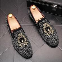 VIVODSICCO Luxury Brand Embroidery Men loafers Black Diamond Rhinestones Spikes men shoes Rivets Casual Flats sneakers wholesale