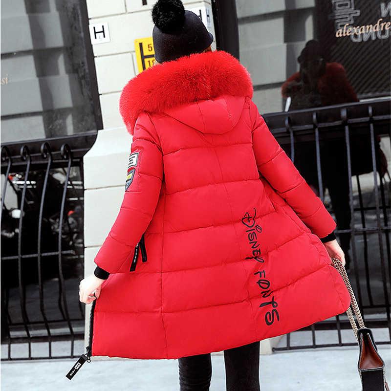 Zimowa puchowa kurtka bawełniana damska parki 2019 nowy gruby, ciepły płaszcz student topy z kapturem Plus rozmiar kobiet parki z futrzanym kołnierzem N239