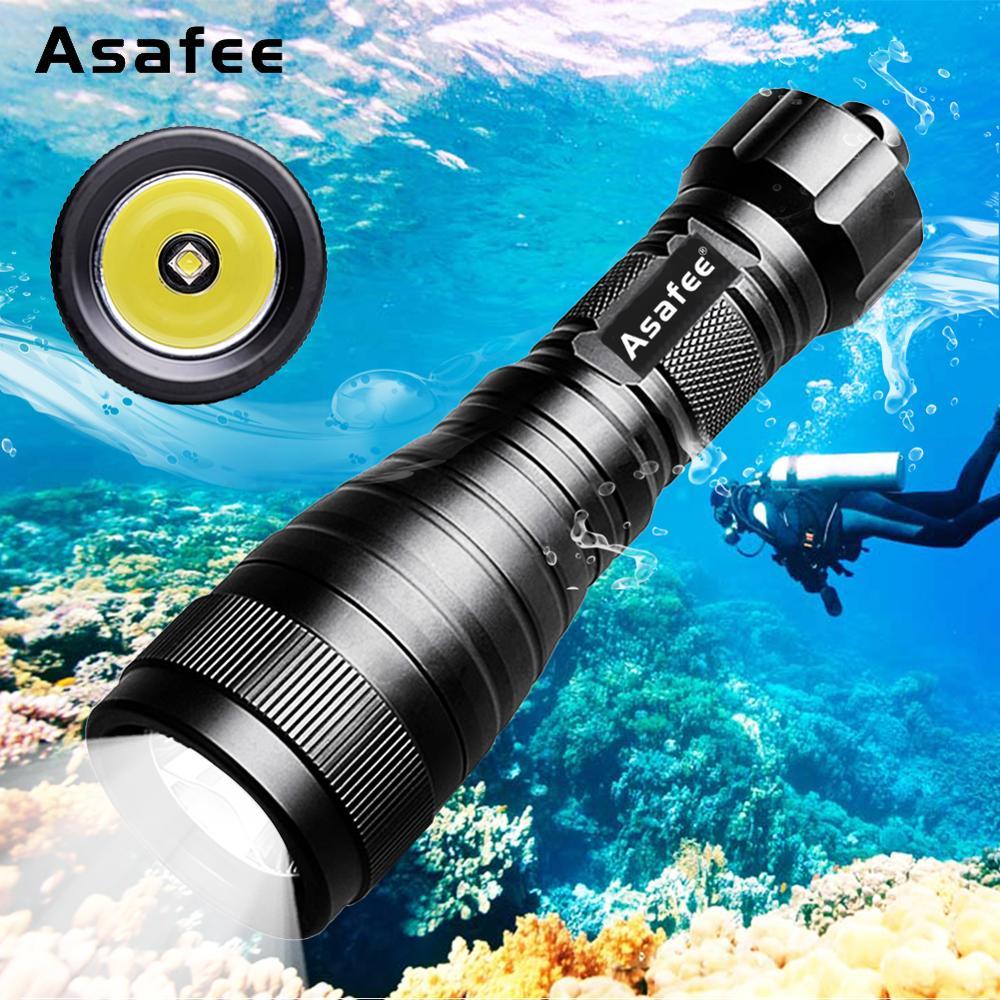 Asafee DIV05 LED Backup Diving Light Super Brightness CREE L2 U4 LED Handheld Scuba Diving Flashlight