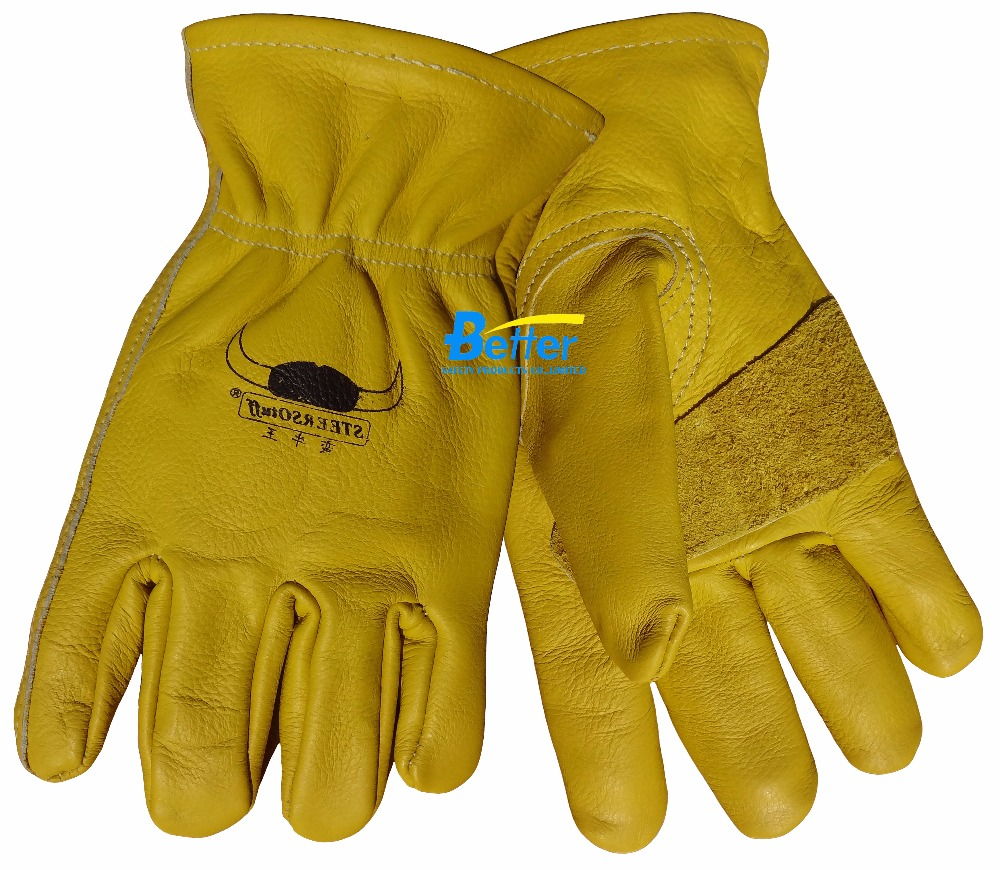 6 Pairs  Safety Glove Cow Grain Leather Driver Work Gloves leather safety glove deluxe tig mig leather welding glove comfoflex leather driver work glove