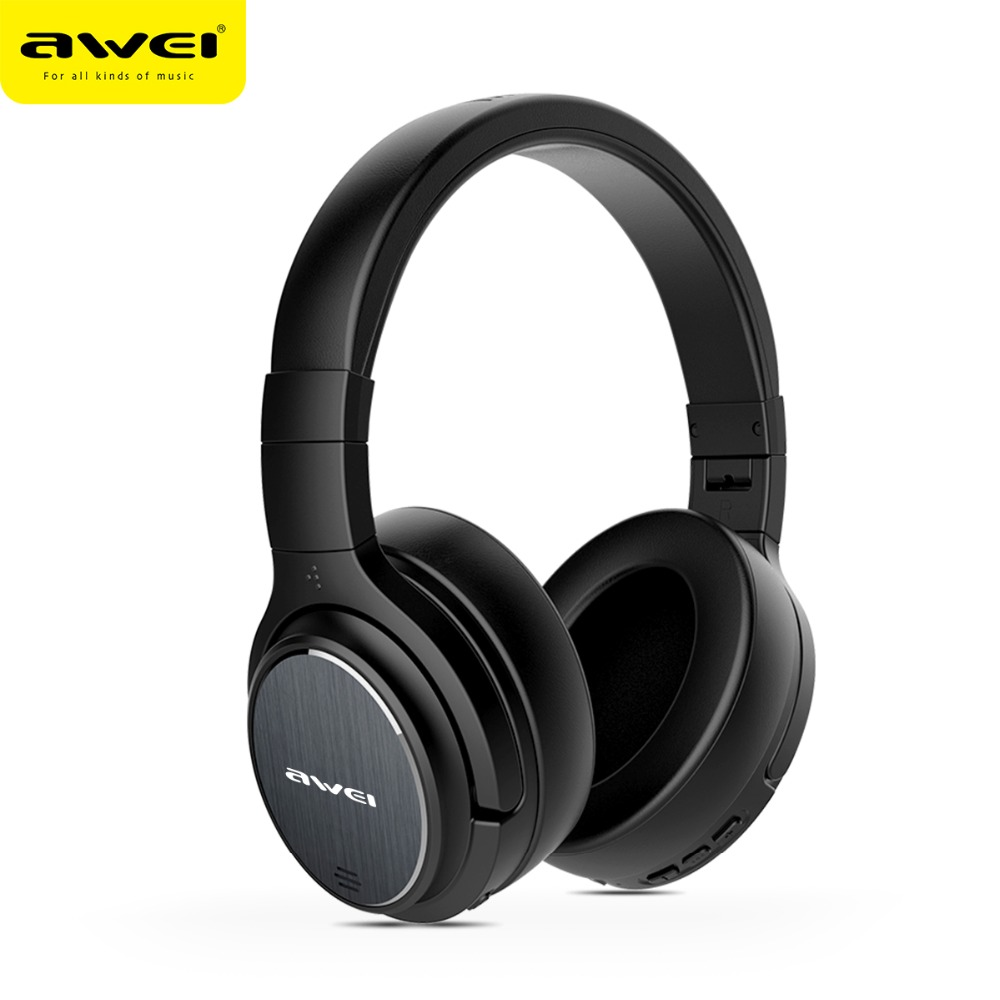 AWEI A950BL Bluetooth Headphone Noise Cancelling Wireless Earphone Cordless Headset With Microphone Casque Earpiece Kulakl k awei es 10ty metal earphone stereo headset in ear noise reduction auriculares headphone with microphone for phone kulakl k