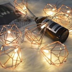 Image 3 - 1.5 متر/3m بطارية معدنية الرجعية بالطاقة أضواء سلسلة جنية LED 10/20 LED الماس فانوس سلسلة مصباح عيد الميلاد عيد الميلاد ديكور المنزل