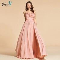 Dressv Bright Dark Pink Long Evening Dress Elegant Fllows Sleeveless Wedding Party Formal Dress Backless Evening