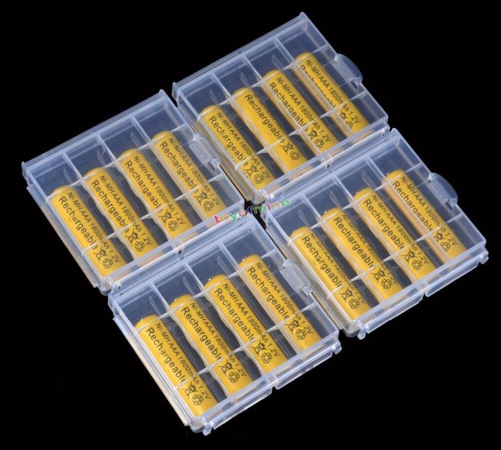 4/8/12/16/20 piezas AAA NiMH 1800 mah 1,2 v 3A batería recargable con de batería de plástico caja de almacenamiento caja titular amarillo