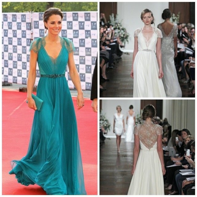 Sheer back cap sleeve kate middleton chiffon lace designer - Designer red carpet dresses ...