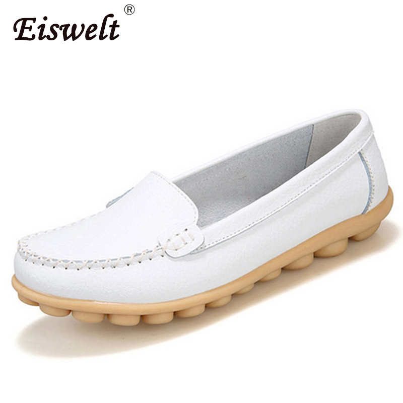 EISWELT 2017 New Ladies Moccasins Female Loafers Women Flats Genuine Leather Women Shoes Soft Mother Footwear#ZQS030 цены онлайн