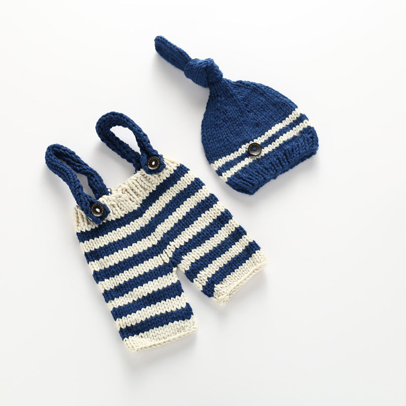 Crochet Newborn Props for Photography Baby Hat + Overalls Knitted Roupas Para Newborn Fotografia for 0-3 Months 1 Set