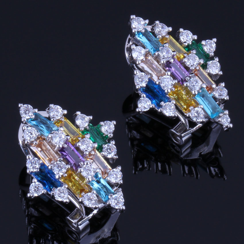 Outstanding Quadrilateral Multigem Multicolor Cubic Zirconia 925 Sterling Silver Clip Hoop Huggie Earrings For Women V0901