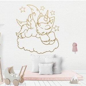 Cartoon Style Unicorn Moon Sta