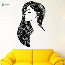 YOYOYU Vinyl Wall Decal Beauty Long Hair Girl Beauty Salon Removable Hpme Papel De Parede Para Quarto wall  Stickers FD243 цена и фото