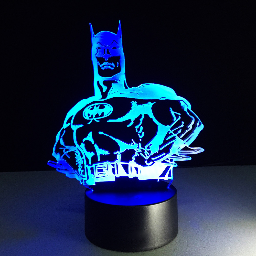 7 Colorful Gradien Visual LED Novelty Batman 3D Night Light Superhero Table Lamp Bedroom Decor Baby Sleep Lighting Birthday Gift