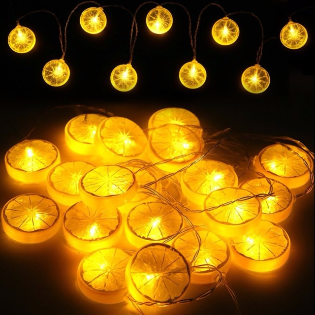 Starry string lights novelty lemon fairy lights indoor and outdoor decorative rope lights for
