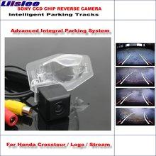 Liislee Rear Camera For Honda Crosstour / Logo Stream Intelligent Parking Tracks Reverse Dynamic Guidance Tragectory