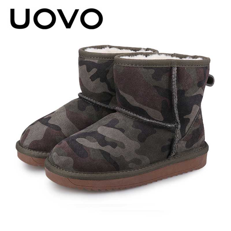 где купить Boys Winter Boots Uovo Classical Design Camouflage Suede Short Boots Kids Size 28-35 Warm Footwear For Children All-match Shoes по лучшей цене