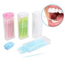 2a58c8ffe Profissional Portátil 50 unidades pacote Dentes Fio Dental Palito De  Plástico Da Dobro-Cabeça Da Haste Encaixotado Dentes Fio .