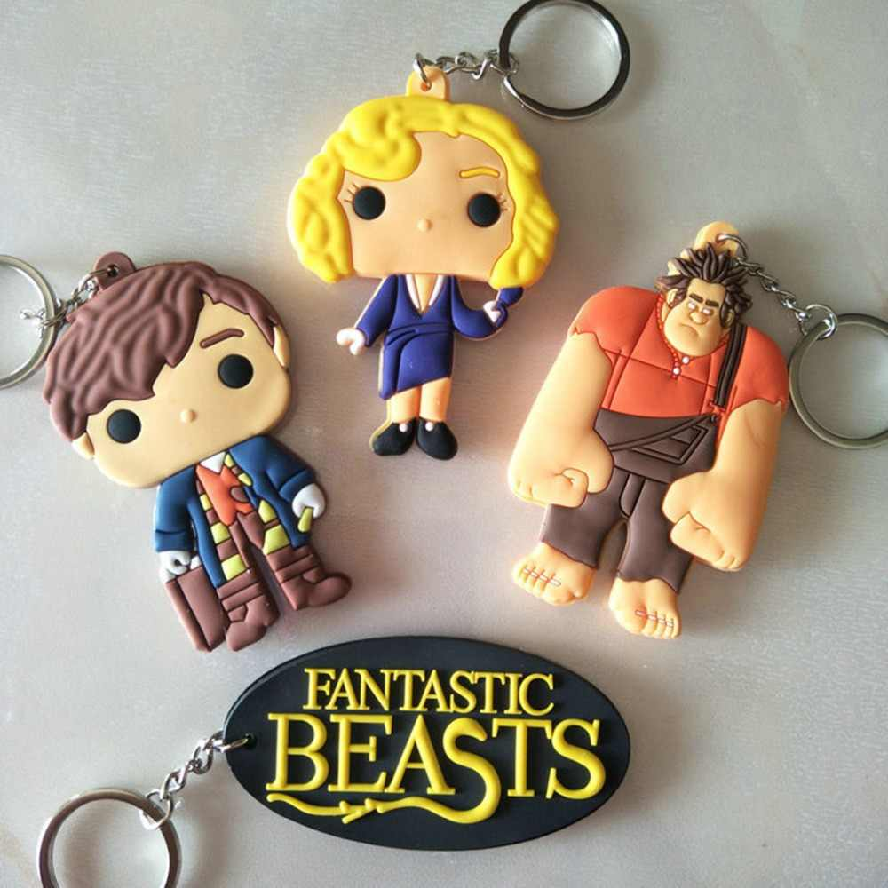 Fantastic Beasts and Where to Find Them cartoon PVC keychain Newt fashion personalized funny key chains bag pendant portachiavi