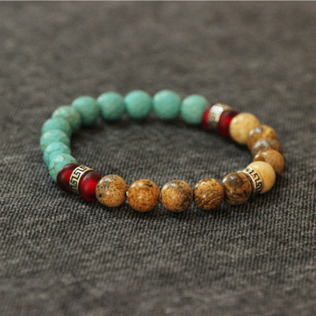Turquoise Stretch Bracelets,925 Sterling Silver Men's Bracelet Male Accessories Bracelets with Natural Stones Bracelet Turquoise