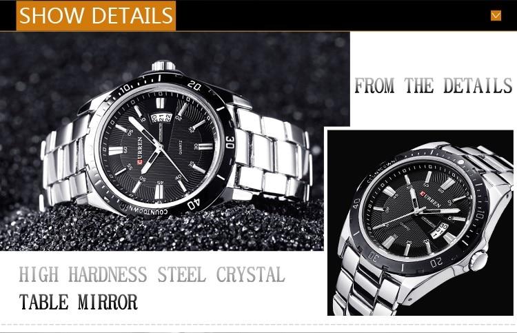 Mens Watches Top Luxury Brand CURREN 18 Men Full Steel Watches Quartz Watch Analog Waterproof Sports Army Military WristWatch 8