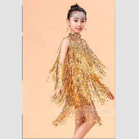 2016 de Moda Único de Lujo de Lentejuelas Borla de Danza de Los niños Vestidos de Niñas Princesa Joya Cadena Frontal Samba/Rumba Traje