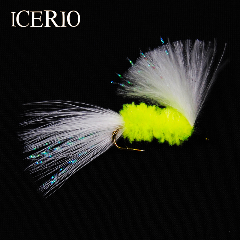 ICERIO 8PCS #10 Olive Body Cat Whisker Streamer Trout Fly Fishing Lures(China)