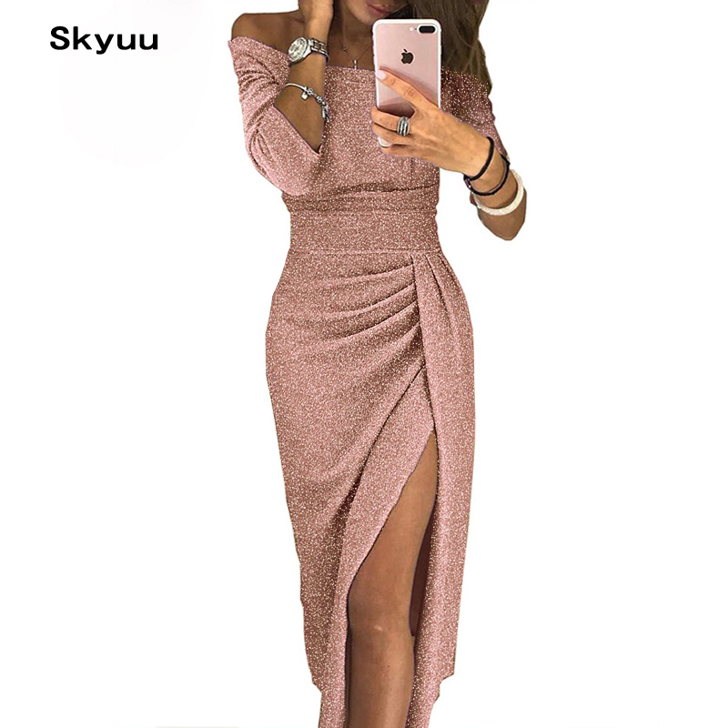 Skyuu Sexy Kleid Plus Größe Winter Kleider Party Night Club 2018 Herbst Frauen Mit Schlitz Damen Kleid Slash Hals Lange pailletten Kleid
