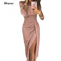 Skyuu Sexy Dress Plus Size Winter Dresses Party Night Club 2018 Autumn Women With Slit Ladies Dress Slash Neck Long Sequin Dress