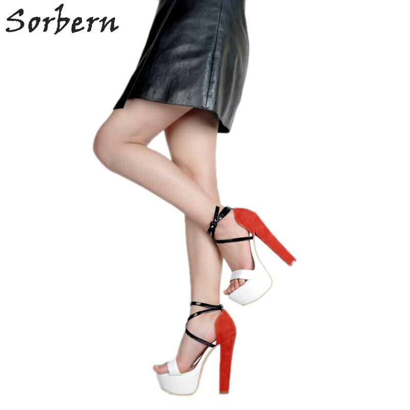 2018 Donne Caviglia Scarpe Alla Tallone Cinturino Arancione Sorbern Delle Sandali Lusso Della Piattaforma Tacchi Sandalo Di Quadrati wf7IUZqP