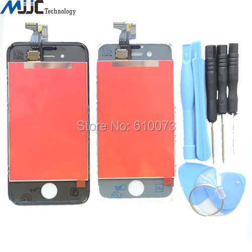 Black White LCD Touch Screen Digitizer Glass Assembly for iPhone 4S 4G 4 Display gsm AAA