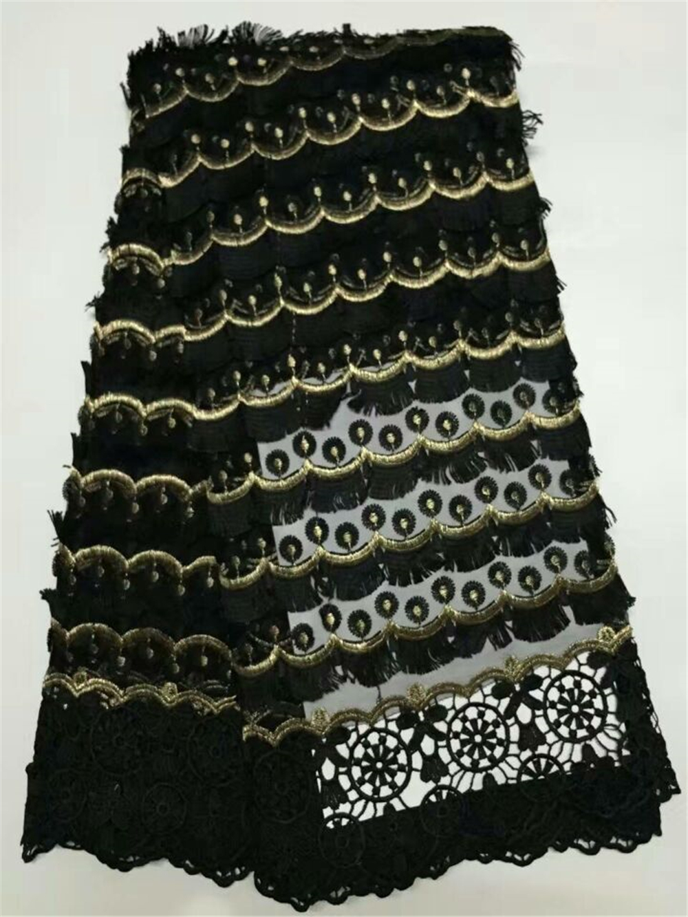 Nigerian lace fabric Black embroidery Net fabric high quality african dreese for women fashion party dress AMY167B-4