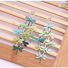 JIOFREE Fashion Long Vintage Colorful dragonfly Clip on Earrings for Women Boho Statement Non Pierced Charm Jewelry