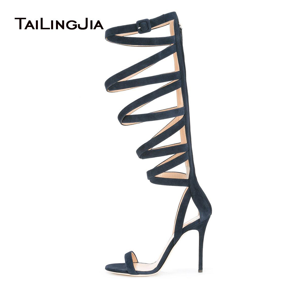 Blue Strappy Stiletto Sandals for Women Knee High Gladiator Summer Boots Ladies High Heel Evening Dress Shoes Big Size 2018