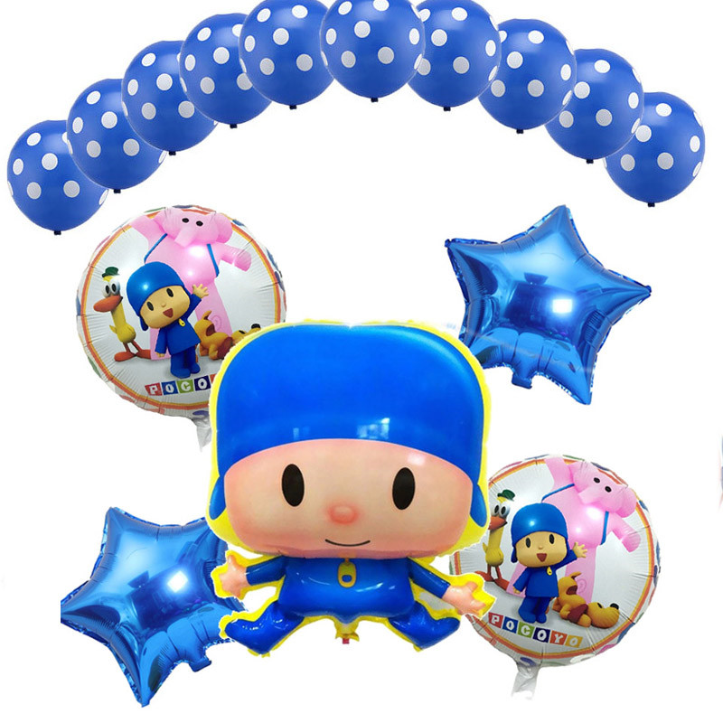 15pcs-set-Cartoon-Pocoyo-Balloons-Happy-Birthday-Party-Star-baloons-Polka-Dot-Pattern-Latex-set-Inflables
