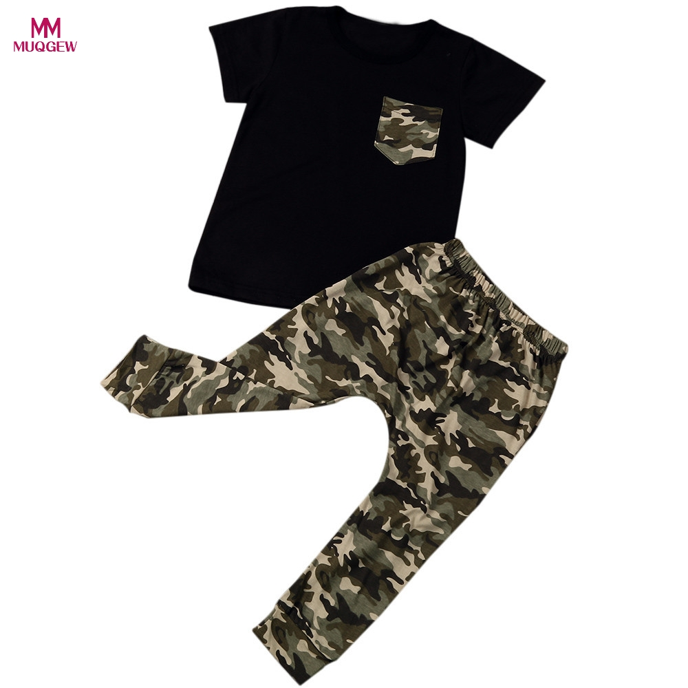 Hot Sale Newborn Infant Summer Baby Boy T shirt Tops Casual Short Sleeve T-Shirts Children Camouflage Pants Outfits Clothes Set