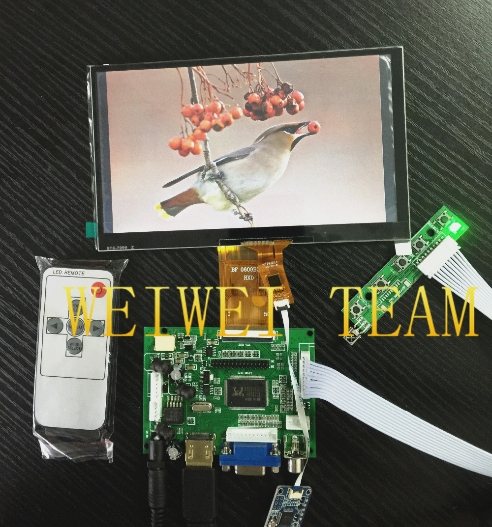 7 inch 1024 600 lcd Display Monitor with Touch Screen Panel with Drive Board HDMI VGA
