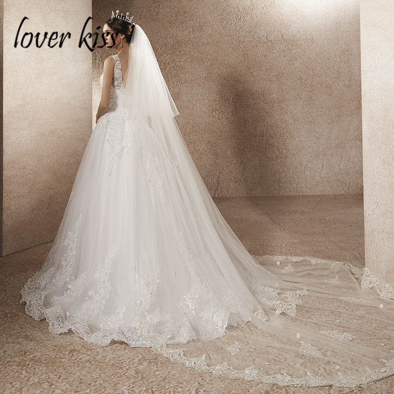 Lover Kiss Tulle Cathedral 2 Layers Tulle Wedding Veil with Comb For Bride Lace Bride Weddings