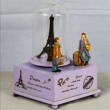 1pc Rectangle Swivel Music Box Christmas Country Style Wooden Base Kiss Couple Paris Lovers Music Bell carrossel Music boxes
